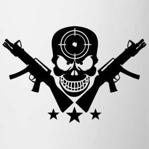 Assault Rifle Gun Skull Target Design Camisetas - Taza