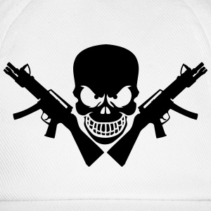 Assault Rifle Gun Skull T-Shirts - Baseball Cap