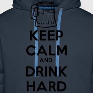 keep_calm_and_drink_hard Camisetas - Sudadera con capucha premium para hombre