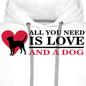 All you need is love and a dog T-shirts - Herre Premium hættetrøje