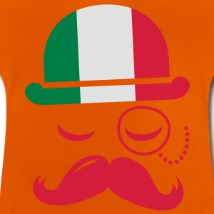 Italy fashionable retro iconic gentleman with flag and Moustache | sports | football Børne T-shirts - Baby T-shirt