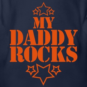 my daddy rocks with cute little stars Kids' Shirts - Organic Short-sleeved Baby Bodysuit