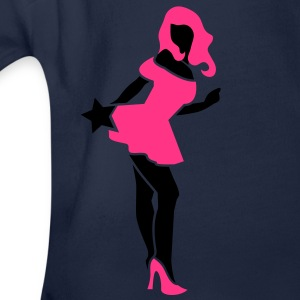 SEXY lady bending over with hot pink high heels Kids' Shirts - Organic Short-sleeved Baby Bodysuit