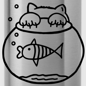 Cat & fish Shirts - Water Bottle