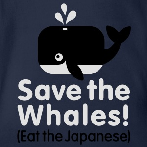 Save the Whales! Eat the Japanese Kids' Shirts - Organic Short-sleeved Baby Bodysuit