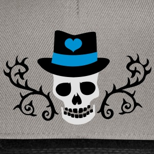 creepy skull with a top hat and tattoo thorns Shirts - Snapback Cap