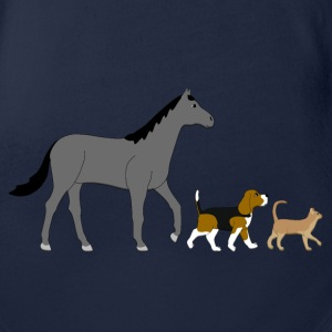 Cheval, chien, chat Tee shirts - Body bébé bio manches courtes