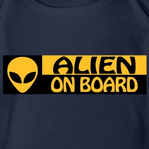ALIEN ON BOARD Shirts - Organic Short-sleeved Baby Bodysuit