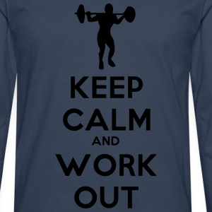 keep calm and workout - Mannen Premium shirt met lange mouwen