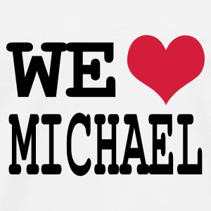 Wit we love michael Buttons - Mannen Premium T-shirt
