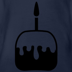 simple one candle birthday cake Shirts - Organic Short-sleeved Baby Bodysuit