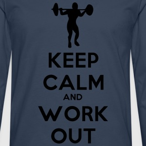 keep_calm_and_workout Camisetas - Camiseta de manga larga premium hombre