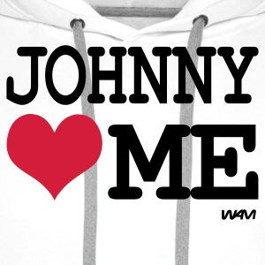 Blanc johnny loves me by wam T-shirts - Sweat-shirt à capuche Premium pour hommes