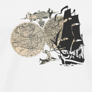 Ship + Map Flasker og krus - Herre premium T-shirt