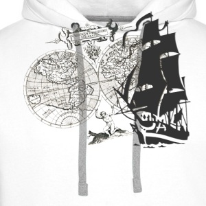 Ship + Map T-shirts - Premiumluvtröja herr