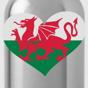 Schwarz Wales heart / Cymru Calon - eushirt.com T-Shirts - Water Bottle