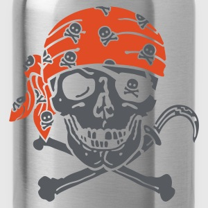 Black Pirate Skull ( for black shirts) T-Shirts - Water Bottle