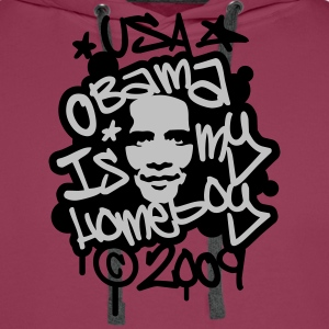 Roze Obama Is My Homeboy (2 clr) T-shirts - Mannen Premium hoodie