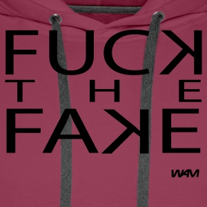 Roze fuck the fake by wam T-shirts - Mannen Premium hoodie
