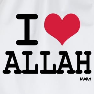 Weiß i love allah by wam T-Shirts - Turnbeutel