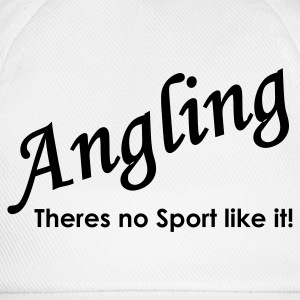 Angling theres no sport like it Fishing T-Shirt - Green Print - Baseball Cap