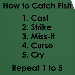How to Catch a Fish 1 to 5 Fishing T-Shirt - Silver Print - Cooking Apron