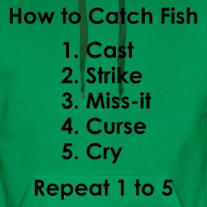 How to Catch a Fish 1 to 5 Fishing T-Shirt - Silver Print - Men's Premium Hoodie