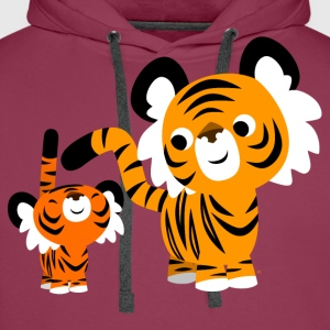 Pink Cute Cartoon Small and Big Tigers by Cheerful Madness!! Kids' Shirts - Men's Premium Hoodie