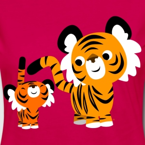 Pink Cute Cartoon Small and Big Tigers by Cheerful Madness!! Kids' Shirts - Women's Premium Longsleeve Shirt