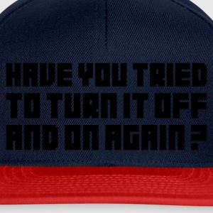 Jeansblå Turn it off and on again T-skjorter - Snapback-caps