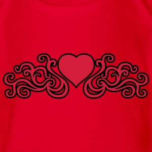 tribal_heart_2c_kontur Shirts - Organic Short-sleeved Baby Bodysuit