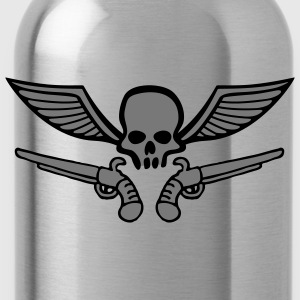 wingskull_comic_pistol_2c Shirts - Water Bottle