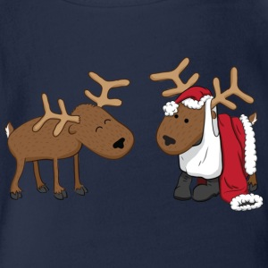 Cyan reindeer fun Kids' Shirts - Organic Short-sleeved Baby Bodysuit