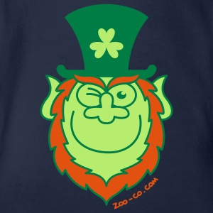 St Paddy's Day Leprechaun Winking and Smiling  Kids' Shirts - Organic Short-sleeved Baby Bodysuit
