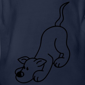 Dog plays with the ball Kids' Shirts - Organic Short-sleeved Baby Bodysuit