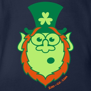 St Paddy's Day Surprised Leprechaun Kids' Shirts - Organic Short-sleeved Baby Bodysuit