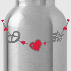 Dirndl jewelry with pretzel, gingerbread heart and Edelweiss T-Shirts - Water Bottle