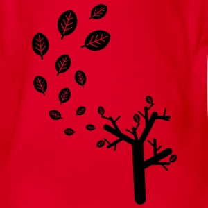 Autumn leaves in the wind - 1c Kids' Shirts - Organic Short-sleeved Baby Bodysuit