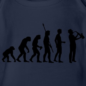 evolution_saxophon_a_1c Shirts - Organic Short-sleeved Baby Bodysuit