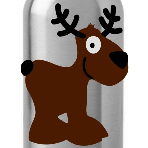 cute moose caribou reindeer deer christmas norway rudolph rudolf winter scandinavia canada smile eyes T-Shirts - Water Bottle