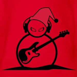 Snowman Guitarist Kids' T-shirt - Organic Short-sleeved Baby Bodysuit