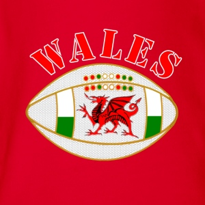 Wales dragon rugby ball T-Shirts - Organic Short-sleeved Baby Bodysuit