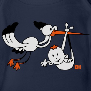 Birth. The stork brings the baby. Kids' Shirts - Organic Short-sleeved Baby Bodysuit