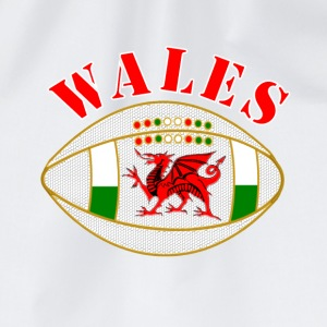 Wales dragon rugby ball Caps & Hats - Drawstring Bag