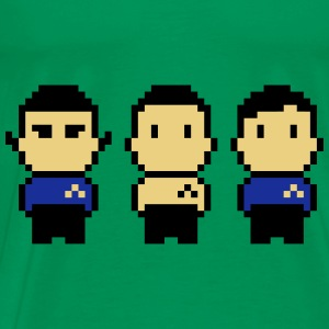 8bit Star Ship Captain, Science Officer and Doctor  Aprons - Men's Premium T-Shirt