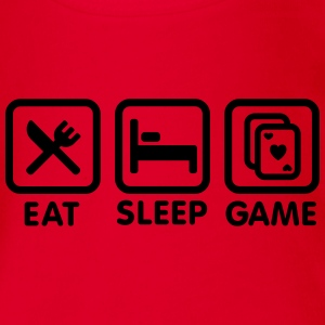 Eat - Sleep - Game \ Poker-Spiel T-Shirts - Baby Bio-Kurzarm-Body