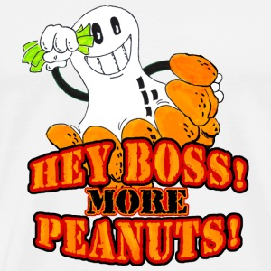 White Hey boss! More peanuts! (DDP) Buttons - Men's Premium T-Shirt