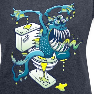 Toilet Monster Hoodies & Sweatshirts - Women's T-shirt with rolled up sleeves