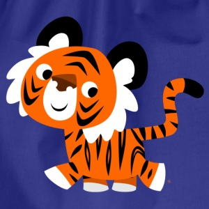 Royal blue Cute Self-Confident Cartoon Tiger by Cheerful Madness!! Men's T-Shirts - Drawstring Bag