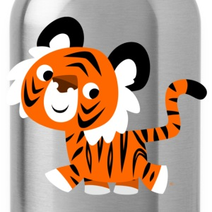 Royal blue Cute Self-Confident Cartoon Tiger by Cheerful Madness!! Men's T-Shirts - Water Bottle